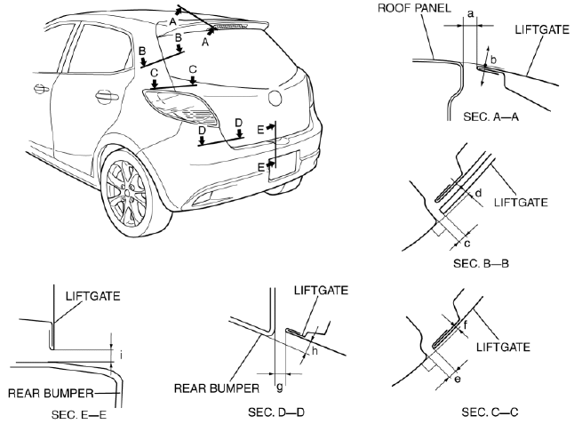 Mazda 2. LIFTGATE ADJUSTMENT