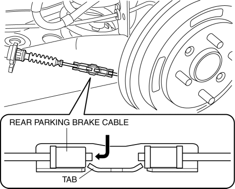 Mazda 2. REAR PARKING BRAKE CABLE REMOVAL/INSTALLATION