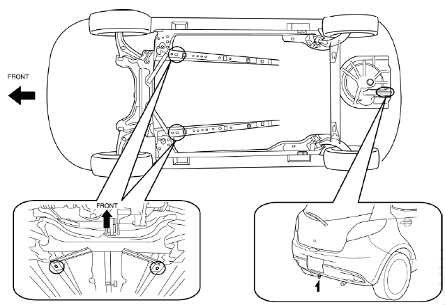 Mazda 2. Jacking Positions, Vehicle Lift (2 Supports) and Safety Stand (Rigid Rack) Positions