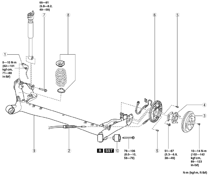 Mazda 2. TORSION BEAM AXLE REMOVAL/INSTALLATION